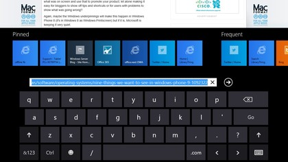 See recent and frequently visited sites in a finger-friendly layout in the 'modern' style IE interface