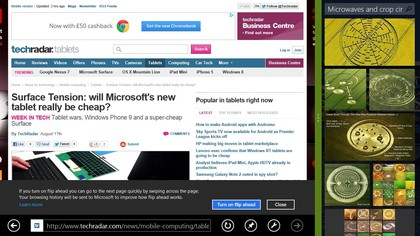 Flipping ahead to the next page in IE10