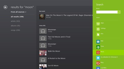 Search the Music apps from the Search charm