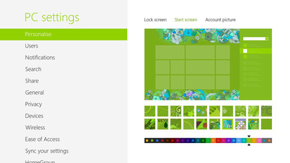 Pick a colour scheme and the Start screen designs change to match and contrast nicely