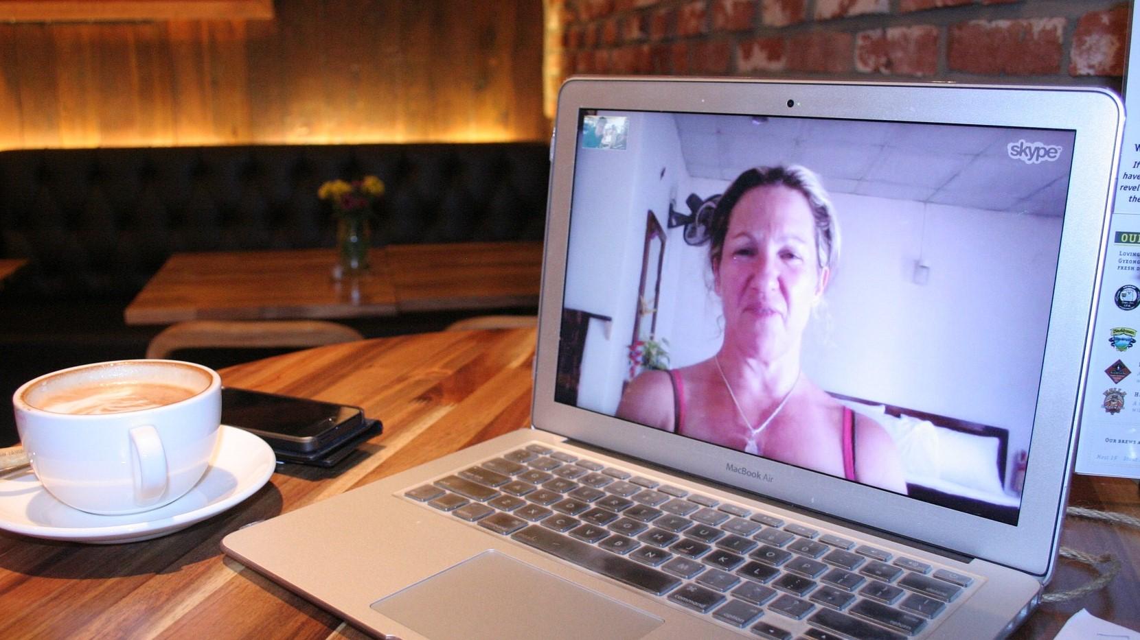 Skype on a laptop